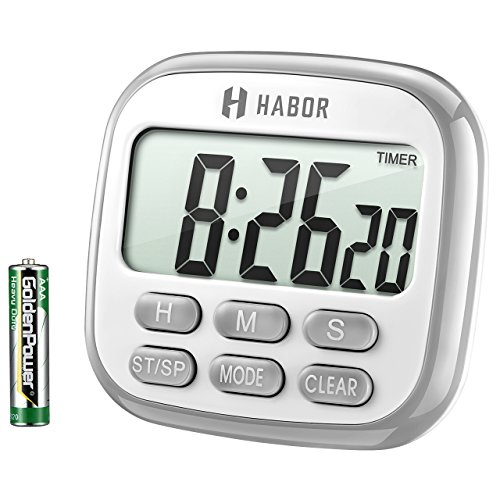 Habor Kitchen Timer Digital Cooking Timer Clock, Large Display, Loud Alarm, Magnetic Back Stand Hanging, Memory Hour Minute Second Count Up and Countdown Timers for Kids Exercise Cooking Baking Game by Habor