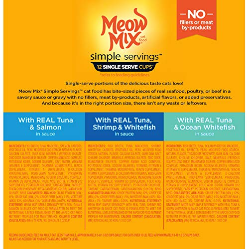 Meow Mix Simple Servings Wet Cat Food, 1.3 Ounce Cups 3