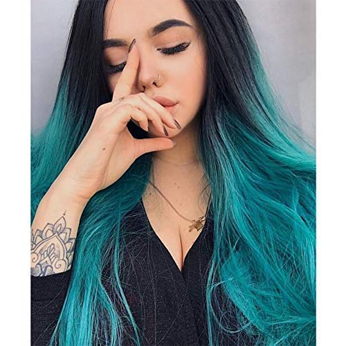 ENTRANCED STYLES Ombre Blue Wig Long Straight Wig for Women with Middle Part Dark Roots Costume Cosplay Wig Heat Resistant Fiber Party Wig (Blue Ombre) -