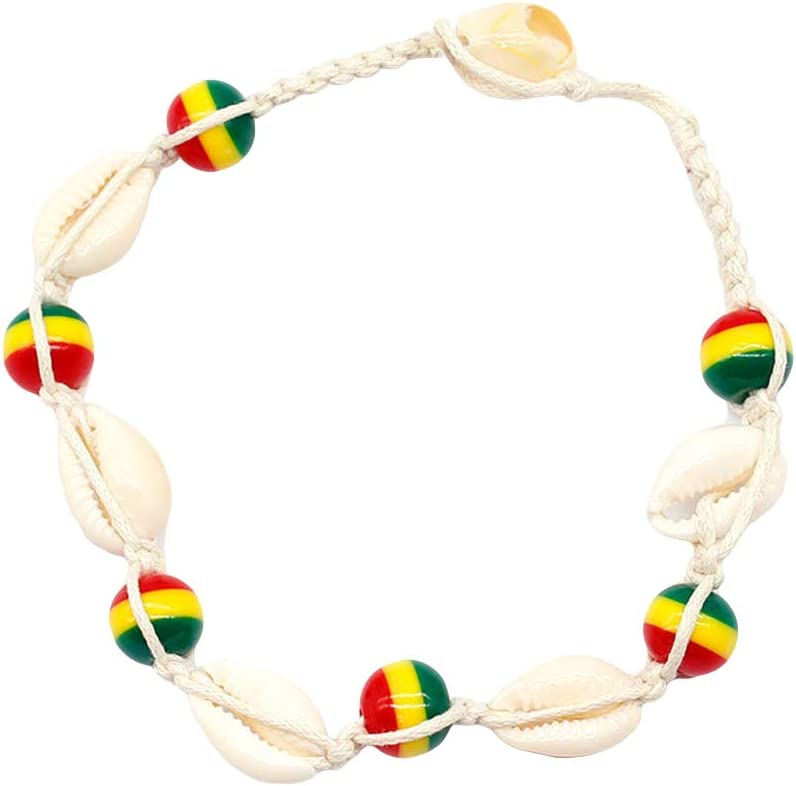 Homeofying Cauris Shell Color/é Perles Charm Bracelet De Cheville Cheville Bracelet Femmes Tiss/é Bijoux Cadeau Boho Plage Vocation Holiday Cheville pour Les Femmes Blanc