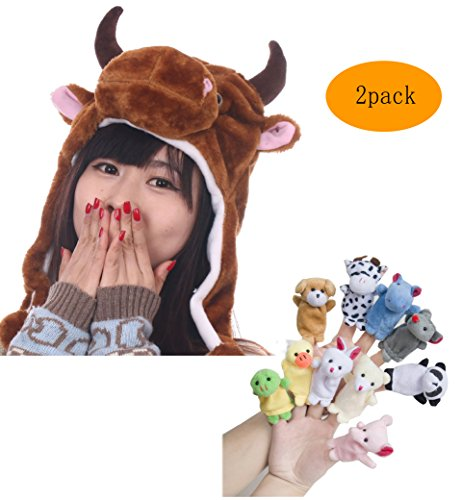 Pulama Winter Animal Beanie Hats, Short Cartoon Caps with 10 Cute Finger Puppets Family Toy for Kids