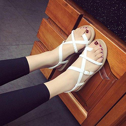 las de vendaje la mujeres pescado planos de Blanco de playa de Internet zapatos del espina Sandalias Bohemia Aqx57wYn