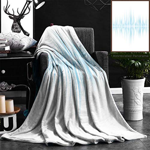 Nalagoo Unique Custom Flannel Blankets Music Graphic Equalizer With Blue Read Out And White Background Super Soft Blanketry for Bed Couch, Throw Blanket 50