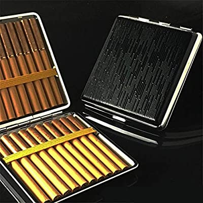 QINRUIKUANGSHAN Anti-pressure Moisture-proof Cigarette Holder 20 Sticks Cigarette Case, Black Business Portable Men And Women Personality Creative Leather Automatic Flip Cigarette Holder, Anti-pressur: Sports & Outdoors