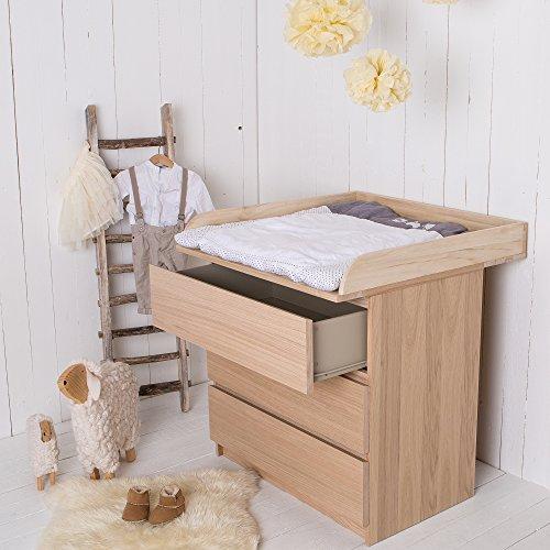 Naturholz Wickelaufsatz Wickeltischaufsatz für IKEA Malm, Mandal, Brusali Kommode