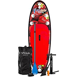 Milkshake Inflatable 8' Kids Stand Up Paddle Board and Complete SUP Bundle (Strawberry)   Includes Board, Pump, Adjustable Paddle, Easy Transport Back Pack, Ankle Leash and Repair Kit