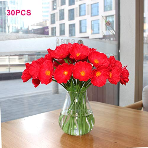 (Mandy's 30pcs red Poppies Silk Artificial Flowers 12.5