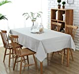 Topmail Grey Tablecloth Rectangle Cotton Linen Plain Table Cloth Kitchen Dining Table Cover (135x180cm Grey)