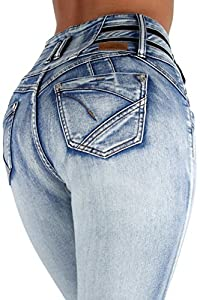 Fashion2Love 9W035 - Colombian Design Butt Lifter High Waist Skinny Plus & Junior Size Jeans