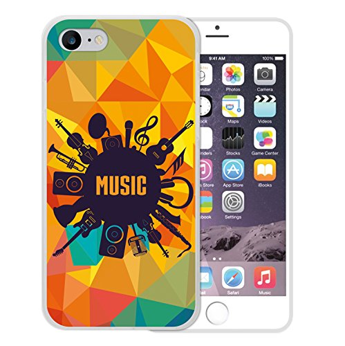 iPhone 8 Hülle, WoowCase Handyhülle Silikon für [ iPhone 8 ] Musikinstrumenten Handytasche Handy Cover Case Schutzhülle Flexible TPU - Transparent