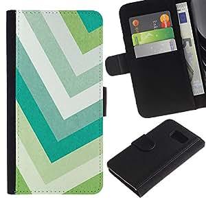 iKiki Tech / Cartera Funda Carcasa - Pastel Green Colors Teal White - Samsung Galaxy S6 SM-G920