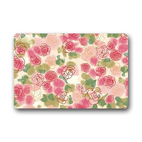Watercolor Art Painting Pink Rose Flower Floral Pattern F...