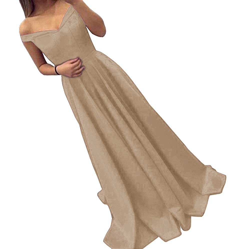 Champagne Dressylady Off The Shoulder A Line Long Prom Homecoming Dress Evening Gowns