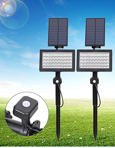 XNCH LED Solar Spotlights, Waterproof 2 in 1 Wall In-Ground Outdoor Floodlights, 180 Angle Adjustable Landscape Lamps, Charging in The Daytime/Auto on at Night Solar Lights