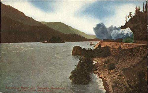 Columbia River And Cascade Mountains On The North Bank Road Railroad Scenic Original Vintage Postcard