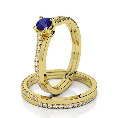 Or jaune 18carats 0.25CT G-H/VS sertie de diamants ronds Cut Saphir et mariée Bague de fiançailles et ensemble de Agdr-1060