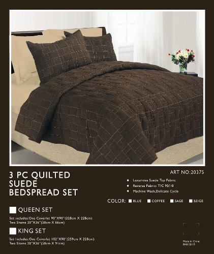 Micro Suede Quilted Bedspread Set (King, Green)
