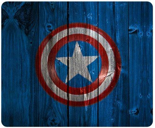 Captain America Shield Logo Wood Background Style Mousepad Square