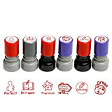 MyLifeUNIT Teachers Self-Inking Stamps for Kids, Teacher Review Photosensitive Rubber Stamps (Pack of 6)