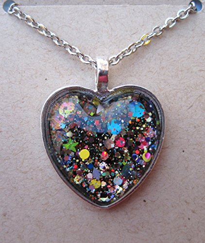 Pendant Confetti Glass (Silver-Tone Black and Multi-Color Confetti Glitter Glass Heart Pendant Necklace 20