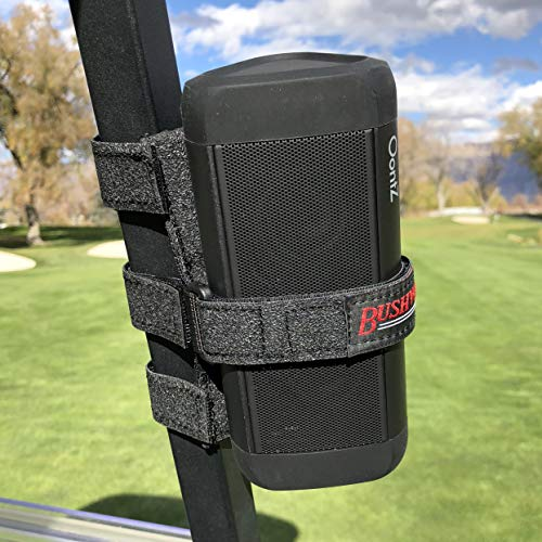 Bushwhacker Portable Speaker Mount for Golf Cart Railing - Adjustable Strap Fits Most Bluetooth Wireless Speakers Attachment Accessory Holder Bar Rail