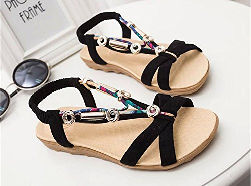 CHIC*MALL Bohemian Shoes Flat Sand Beach Shoes Elastic Beaded Sandals(black) mrZ8ni