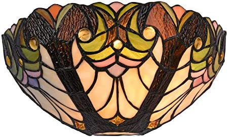 Capulina Victorian Tiffany Sconces Lighting, 1-Light Antique Tiffany Style Wall Light, 12 Inch Wide Stained Glass Sconce, Vintage Stained Glass Wall Lamp for Living Room Bedroom Gift