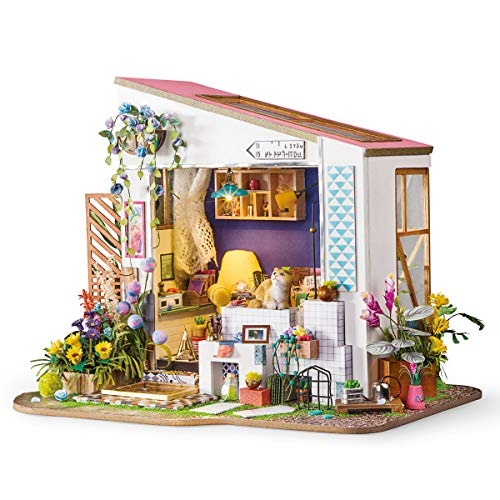 Room Model Kit - Rolife Dollhouse DIY Miniature Room Set-Wood Craft Construction Kit-Wooden Model Building Toys-Mini Doll House-Creative Birthday Gifts for Boys Girls Women and Friends (Cat's Porch)