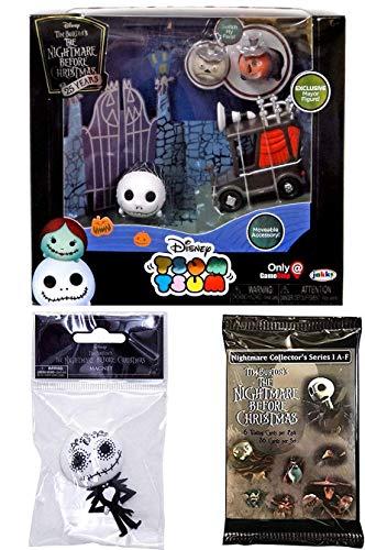 Stackable Figure Pack Nightmare Before Christmas Exclusive Disney Series & Tsum Tsum Figure Blind Bag + NBC Trading Cards Pack collectible Box Set Jack Skellington & Mayor Halloweentown Bundle set ()