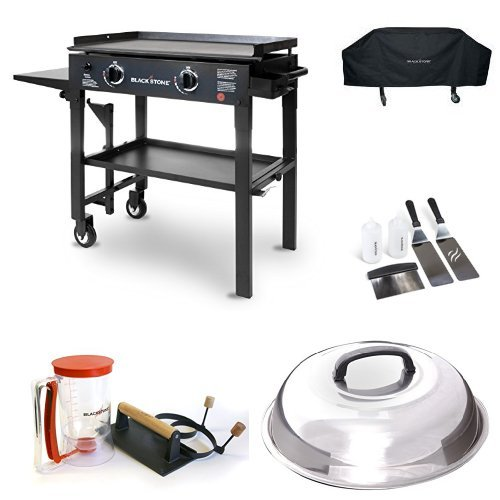 Blackstone 28 inch Outdoor Flat Top Gas Grill Griddle Station - 2-burner - Propane Fueled - Restaurant Grade - Professional Quality with Cover, Accessory Kit, Dome, Cutting Board and Breakfast Kit
