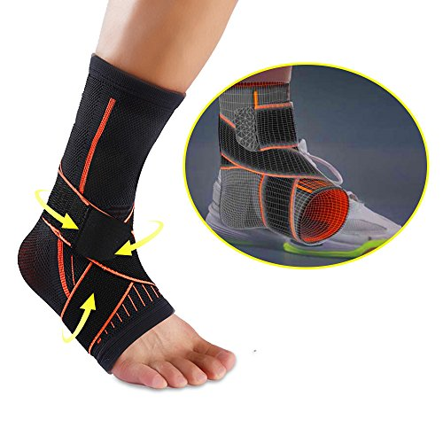 Spuitom Breathable Ankle Brace Compression Support Sleeve, Ankle & Arch Support Socks for Gym Workout, Soccer, Basketball, Running, Jogging, Heel Spurs, Plantar Fasciitis Injury Recovery - Breathable by Spuitom