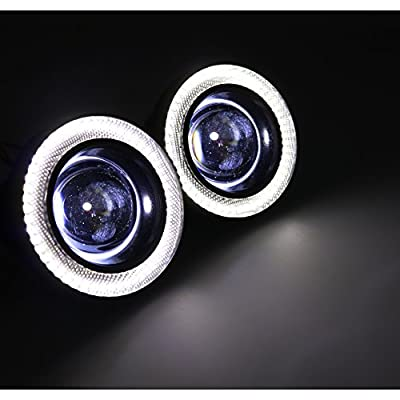 Didieyes 2pcs 3.5in White COB LED Fog Light Projector with White Halo Ring Angel Daytime Running Light DRL Car Driving Lamps(White, 3.5inch): Automotive