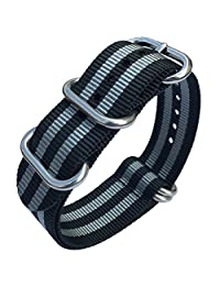 Leesting Nylon NATO Woven Watch Strap 18mm 20mm 22mm 24mm Replacement Men Women Band Sandblasted Stainless Steel Buckle (22mm)