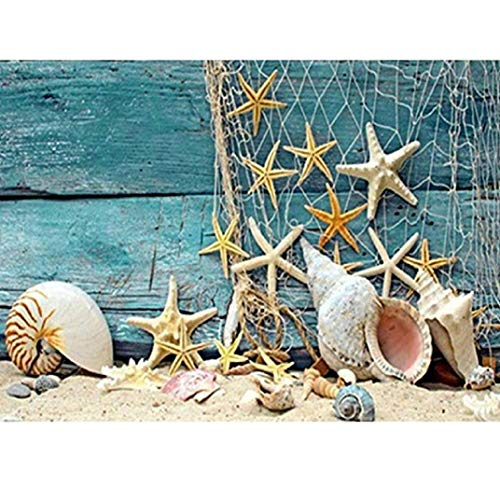 TOPOB DIY 5D Diamond Painting by Number Kits, Full Drill Seastar Seashell Sea Beach Sand Rhinestone Embroidery Arts…