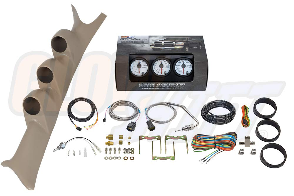 GlowShift Diesel Gauge Package for 1999-2007 Ford Super Duty F-250 F-350 6.0L 7.3L Power Stroke - White 7 Color 60 PSI Boost, 2400 F Pyrometer EGT & Transmission Temp Gauges - Tan Triple Pillar Pod by GlowShift