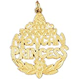 14K Yellow Gold Mexican Princess Pendant Necklace - 31 mm