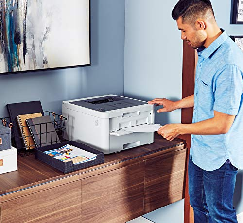 Brother Color Providing Laser Printer with Wireless, Amazon Enabled, White