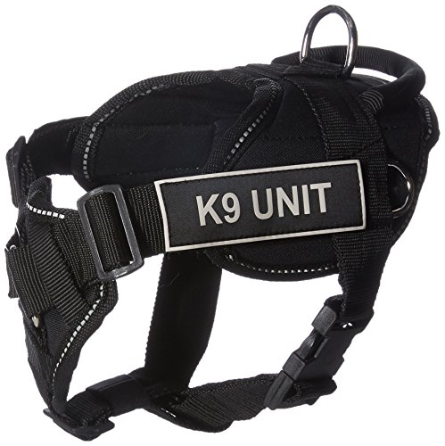 Dean & Tyler Black with Reflective Trim Fun Dog Harness with Padded Chest Piece, K9 Unit, Small, Fits Girth Size 22-Inch to -