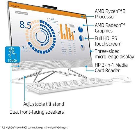 "HP 24 Touchscreen AIO Desktop PC, 23.8"" FHD IPS, Quad-Core AMD Ryzen 3 4300U, 8GB RAM, 256GB SSD+1TB HDD, Privacy Camera, Built-in Speaker, WiFi, Ethernet, Myrtix HDMI Cable, Win 10 (Renewed)"