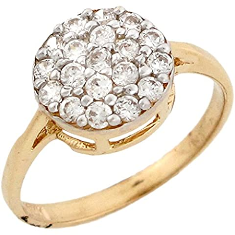 10k Yellow Real Gold White CZ Round Cluster Engagement Womens Ring - 10k Gold Cluster Ring