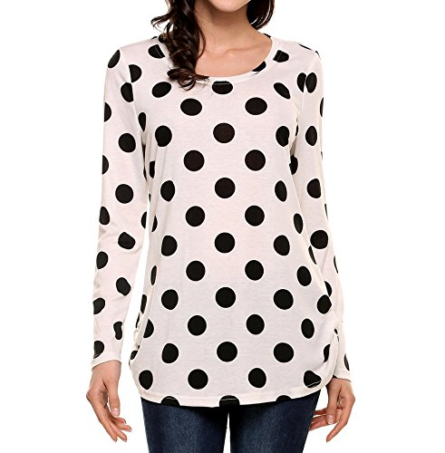 Plus Polka Dot - SoTeer Women Fashion Polka Dot Printed Oversized Off-Shoulder Tunic Tops Pullover Blouse (White XXL)