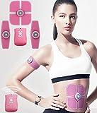 ABS Stimulator ESMK Portable Ultimate Abs Stimulator Abdominal Muscle Toner Women Massage Toning Belt Home Office Fitness Equipment for Abdomen/Arm/Leg Training USB Charging (Pink)