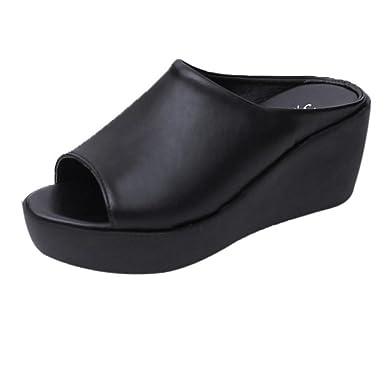 d5df3a484e5375 Creazrise Women s Fashion Wedge Sandals Ladies Peep-Toe Platform Slippers  Flip Flop Black (Black
