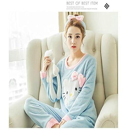 MH-RITA Cartoon mujeres pijamas conjuntos de algodón 2017 Otoño&Invierno camisón de manga larga niñas