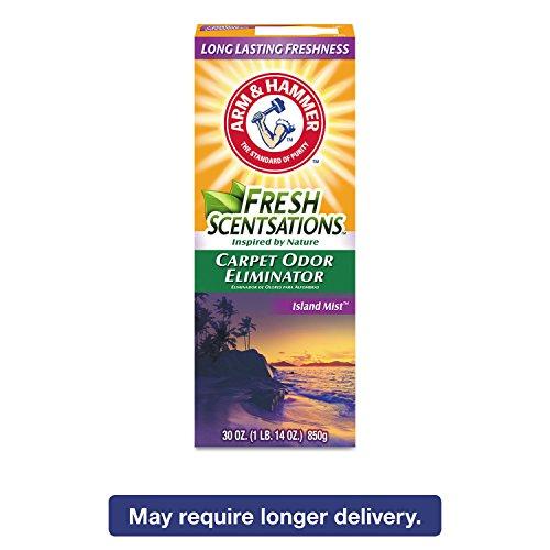 (Arm & Hammer 3320011535 Fresh Scentsations Carpet Odor Eliminator Island Mist 30 oz Box 6/Carton)