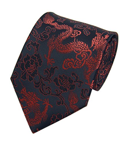 Men's Wide Black Red Ties Paisley Jacquard Woven Daily Dress Meeting Neckties