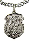 Saint Michael Protect Us 13/16 Inch Shield Shaped Sterling Silver Medal