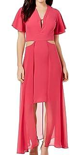 308a43a5e WAYF Women's Ruffle Tiered Chiffon Wrap Maxi Dress Pink XS at Amazon ...