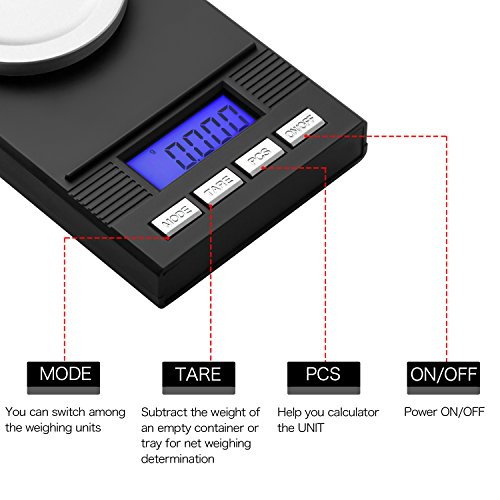 Zilink Digital Milligram Pocket Scale 50g / 0.001g Pro Jewelry Lab Carat Powder Scale with Back-lit LCD Display Auto Off Tare Function Batteries Included by Zilink (Image #2)