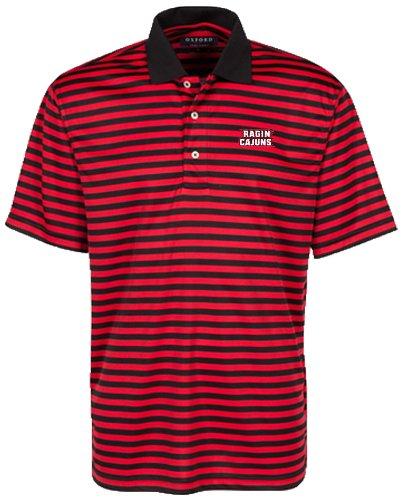 Bar Stripe Polo (Oxford NCAA Louisiana Lafayette Ragin' Cajuns Men's Bar Stripe Golf Polo, Black/Cardinal, Large)